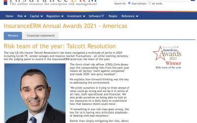 Kamakura Congratulates Talcott Resolution For Being Named As The Risk Team Of The Year By InsuranceERM